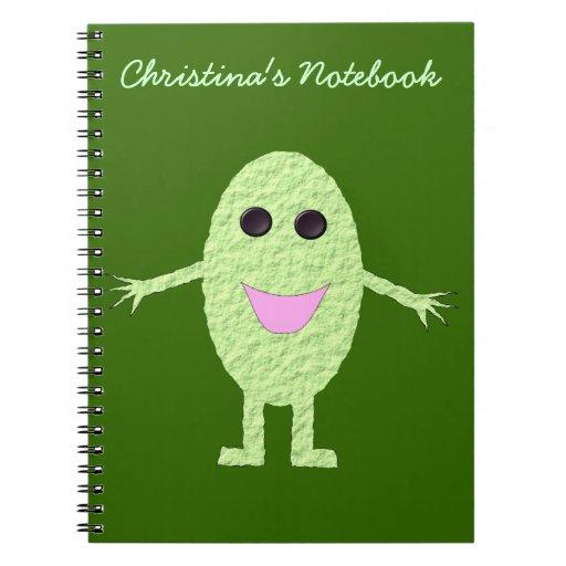 Cuaderno verde feliz del personalizable de la uva