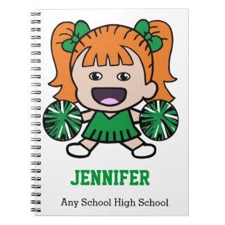 Cuaderno verde lindo de la animadora