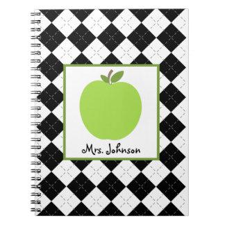 Cuaderno verde negro del profesor de Argyle Apple