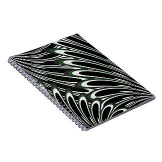 cuaderno verde oscuro abstracto de las flores