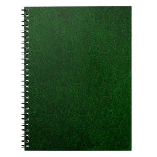 Cuaderno verde oscuro floral del vintage