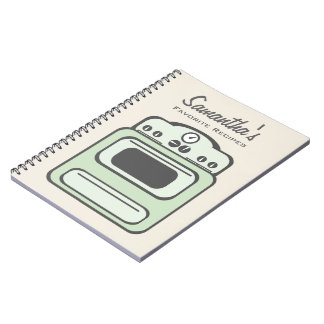 Cuaderno verde retro de la receta de la estufa