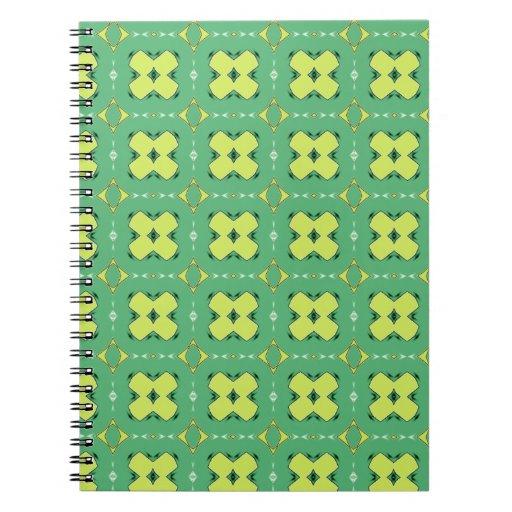 Cuaderno verde y amarillo de la impresión