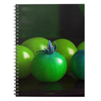 Cuaderno verde y azul de los tomates de cereza