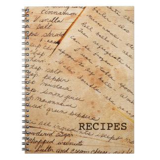 Cuaderno viejo de las recetas de la familia