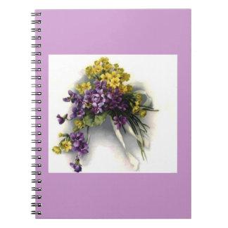 Cuaderno violeta de la púrpura del ramo del vintag