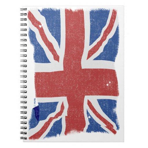 Cuadernos BRITÁNICOS de la bandera del vintage