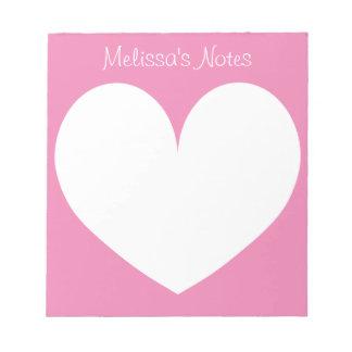 Cuadernos de notas rosados personalizados de la bloc de papel