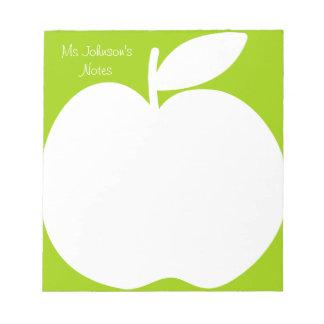 Cuadernos de notas verdes de la escritura para el libreta para notas