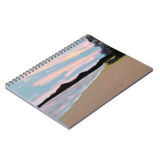 Cuadernos espirales de la playa rosada de la salid