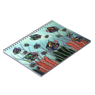 Cuadernos espirales del arrecife de coral de neón