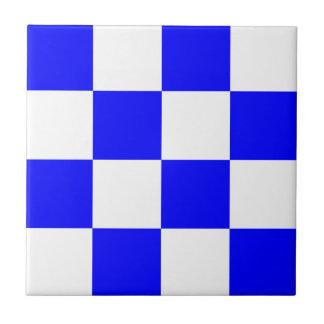 Cuadrado a cuadros blanco azul de NOVIEMBRE Azulejo Cuadrado Pequeño
