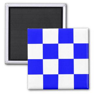 Cuadrado a cuadros blanco azul de NOVIEMBRE Imán Cuadrado