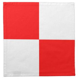 Cuadrado a cuadros blanco rojo uniforme servilletas