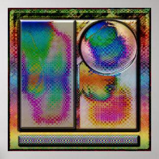 cuadrado abstracto avanzado del arte del li póster