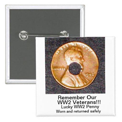 CUADRADO afortunado del botón del penique WW2 SOLA Pin