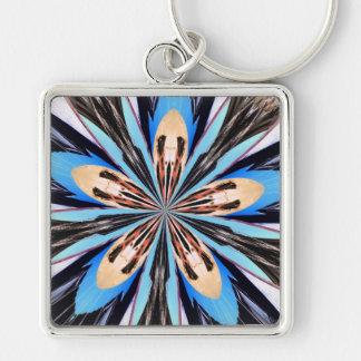 Cuadrado azul abstracto del arte del fractal de lo llavero cuadrado plateado