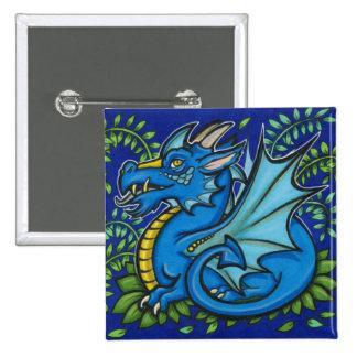 Cuadrado azul del dragón pin