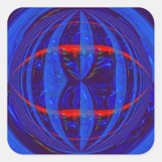Cuadrado azul marino del pegatina del orbe