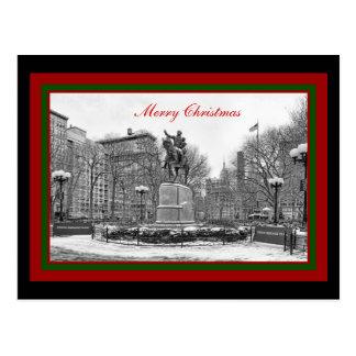 Cuadrado B de la unión del invierno NYC y Felices Tarjeta Postal
