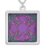 Cuadrado bejeweled Nouveau del arte Collar