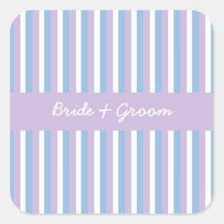 Cuadrado blanco del boda de la lila de las rayas pegatina cuadrada
