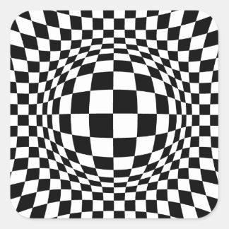 Cuadrado blanco y negro del arte de Op. Sys. Pegatina Cuadrada