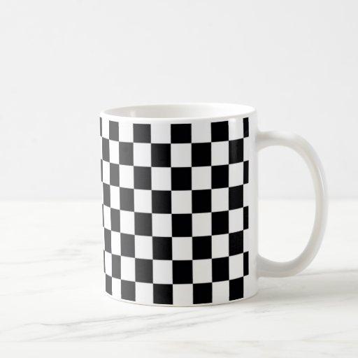 Cuadrado blanco y negro tazas