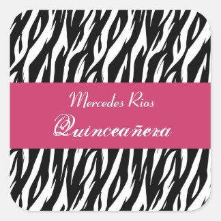 Cuadrado blanco y rosado negro de Quinceanera de Pegatina Cuadrada