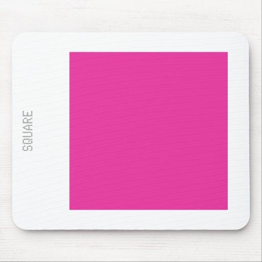 Cuadrado - color de rosa profundo y blanco tapetes de raton