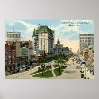 Cuadrado de Cadillac, Detroit Michigan, vintage 19 Posters