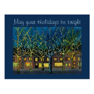 Cuadrado de ciudad en el navidad tarjeta postal