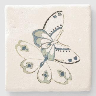 Cuadrado de dos mariposas posavasos de piedra