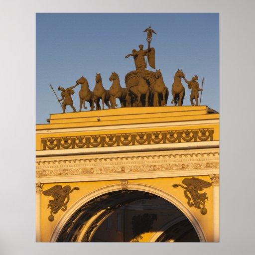 Cuadrado de Dvortsovaya, arco triunfal, puesta del Poster
