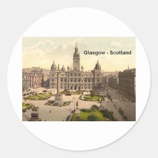 Cuadrado de Escocia Glasgow George (St.K.) Pegatina Redonda