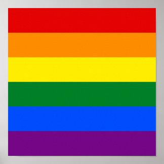 Cuadrado de la bandera del arco iris del orgullo póster