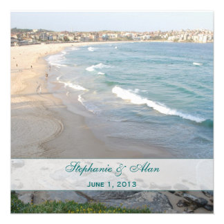 Cuadrado de la invitación del boda de playa