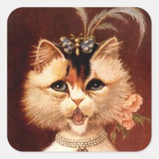 Cuadrado de la joya del gato de la sala del canto pegatina cuadradas