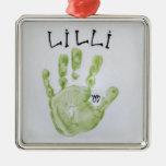 Cuadrado de la mano de Lilli Ornamento Para Arbol De Navidad