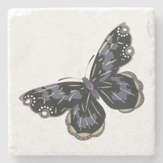 Cuadrado de la mariposa del vintage posavasos de piedra