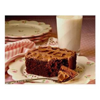 Cuadrado de la torta de chocolate tarjeta postal