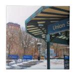 Cuadrado de la unión de NYC Nevado en invierno Azulejo Ceramica