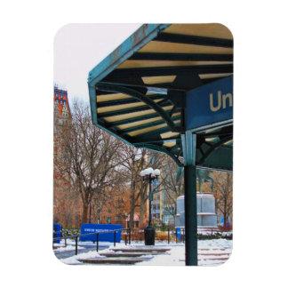 Cuadrado de la unión de NYC Nevado en invierno Imán