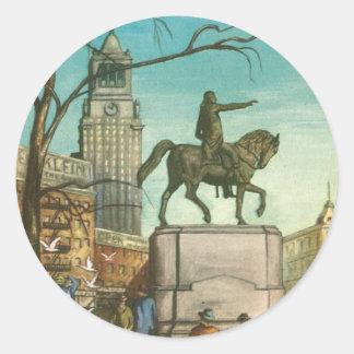 Cuadrado de la unión, Nueva York. Pintura del Pegatina Redonda