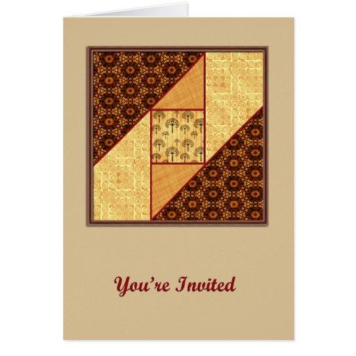 Cuadrado de la ventana del ático en moho y oro le tarjeta de felicitación