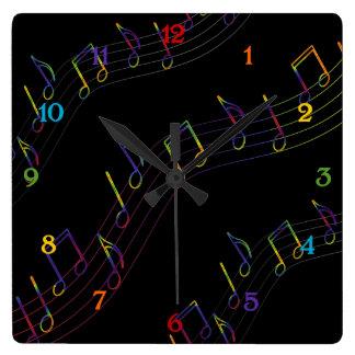 Cuadrado de las notas musicales del arco iris reloj de pared