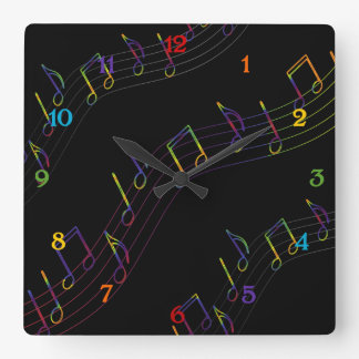 Cuadrado de las notas musicales del arco iris reloj cuadrado