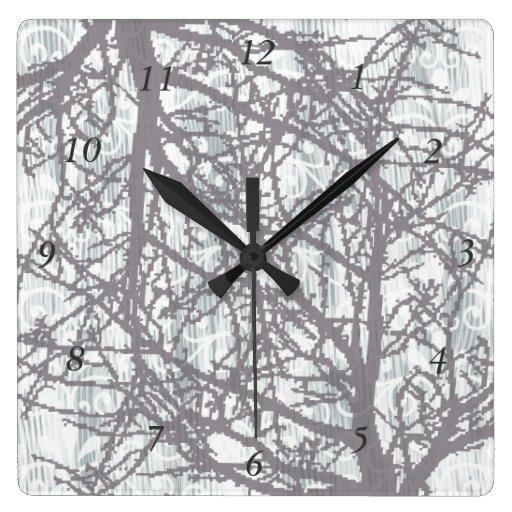 Cuadrado de los árboles 3 del invierno reloj cuadrado