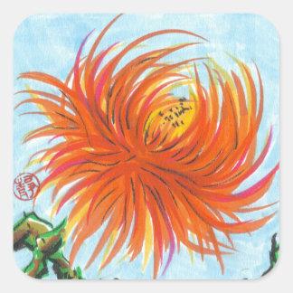Cuadrado de los pegatinas de la flor del calcomania cuadrada personalizada