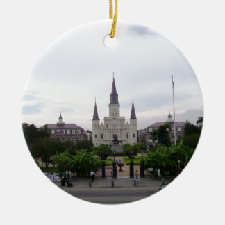 Cuadrado de New Orleans Jackson Adorno Navideño Redondo De Cerámica